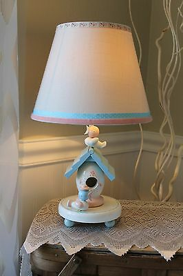 Vintage~IRMI~Wood Lamp~Shade~Night Light~Nursery Decor~Baby~Child~Pastel~Birds