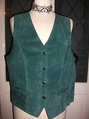Ladies Green leather suede waistcoat size 16 by Long Tall Sally