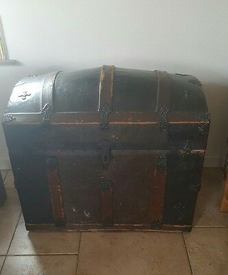 antique trunk chest domed top wood metal
