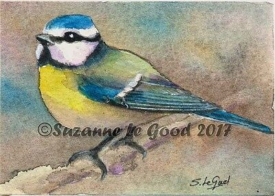 Aceo Original Blue Tit Bird Watercolour Mioniature Painting By Suzanne Le Good
