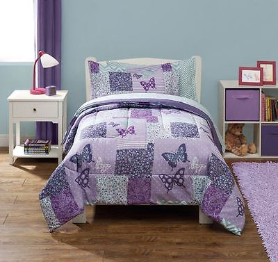 Mainstays Kids Butterfly Patchwork Twin Bed in a Bag Bedding Set