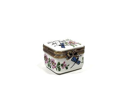 "Limoges France ""Dents De Lait"" Hand Painted Peint Main Porcelain Trinket Box"