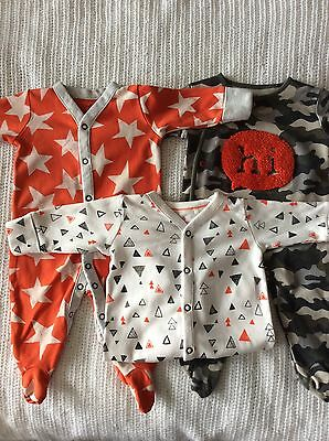 Next Baby Sleepsuits X3 Bundle 0-3 Month Up to 3 Month Boys Baby grows