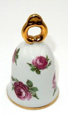 Vintage Floral Rose Gold Trim Porcelain Bell By Royal P.k. ~ Made In W. Germany