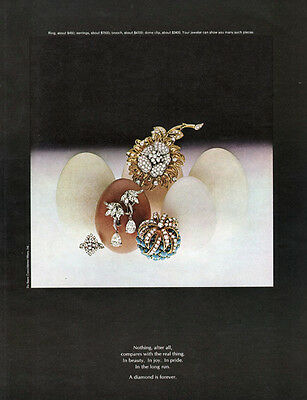 De Beers Diamond Jewelry RING Brooch DOME CLIP Earrings 1968 Magazine Print Ad