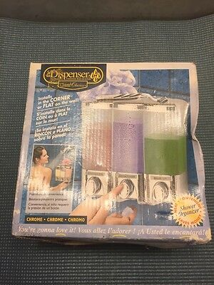 NIB The Dispenser – three container chrome shower soap and shampoo dispenser.