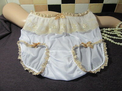 Vtg Sissy Nylon Panties Knickers White With Gold Lace & Satin Bows