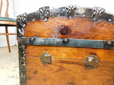 Antique Re-Finished Wood Iron Hump Dome Steamer Luggage Victorian Trunk