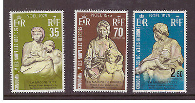 New Hebrides French 1975 Christmas,Art mint set SGF218-220