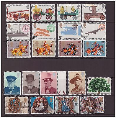 Great Britain GB 1974 selection of 6 sets mint hinged stamps