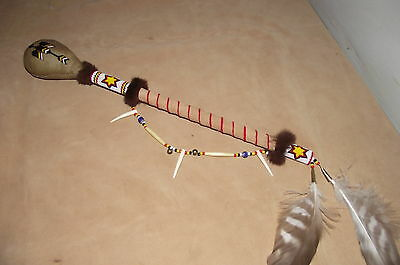 native american style waterbird design large rawhide ceremonial rattle