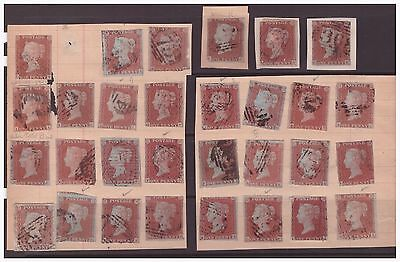 Great Britain GB QV 1841-1853 selection of used stamps,1d.red plates unchecked