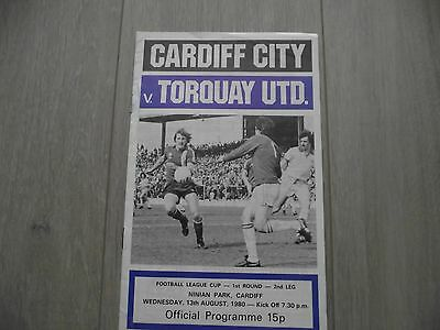 1980-81    Cardiff City v Torquay United  League Cup Round 1