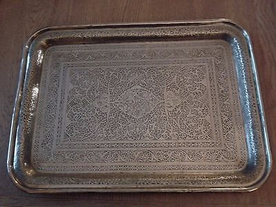 Ornate and Intricately Decorated Brass Tray