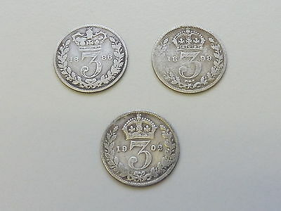 3 SILVER 3d THREEPENCES 1886 HIGHER CAT. VALUE 1899 / 1902
