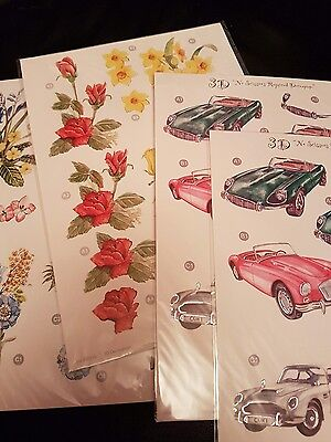 4 sheets punched decoupage press out cars and flowers