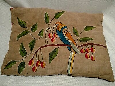 Vintage Antique Arts & Crafts Era Embroidered Linen accent Pillow, Tropical Bird