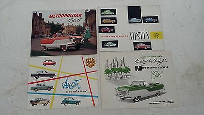 Collection Of 4 Austin Nash Metropolitan Brochures From 1950's / 1960's