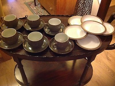 DENBY GREYSTONE 6 CUPS AND 6 SAUCERS 6 Tea Plates