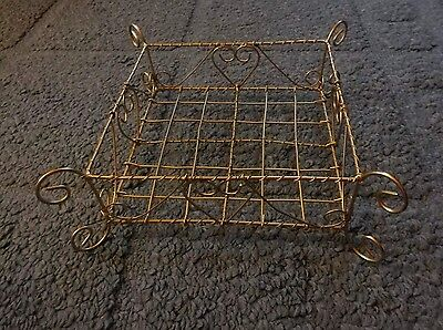 Decorative Scrolling wire basket gold hearts NICE