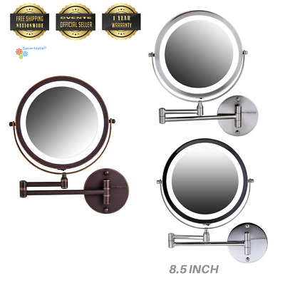 "Ovente Wall Mounted 8.5"" LED Battery Operated Magnifying Make up Mirror (MFW85)"