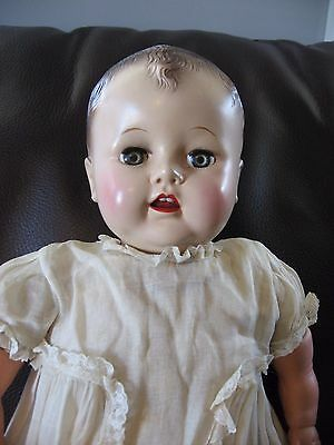 "FAB! Vintage Ideal Baby Doll 22"" Plastic Cloth Vinyl Teeth Cuddles? 1940's P200"