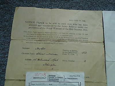 Ww1 Certificate Of Demobilization A/sgt Taylor Ramc  ( Mid )  Medals