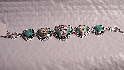 hand painted 3 chihuahuas dog portraits turquoise silver  bracelet
