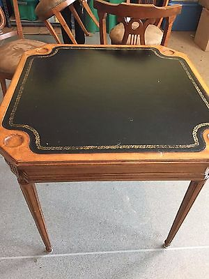 STURDY Antique Game Card Poker Table drink pull outs Reeded legs Leather top W@W