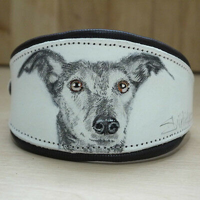 """Real Leather Dog Collar Italian Greyhound Hand drawn , Painted 10 1/2"""" - 13"""""""