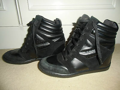 Black Real Leather & Suede Ankle Boots Sneakers Lace Up Wedge Shoes Size 39 / 6