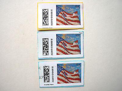 USA APC (Cat. #CVP91) ERROR used on paper 3 stamps missing the word FOREVER