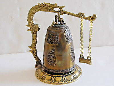Vintage Brass Chinese Asian Dragon Bell 5 1/2 Tall