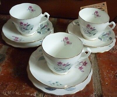 Adderley Bone China Floral Trios X 3. Cups, Saucers, Side Plates