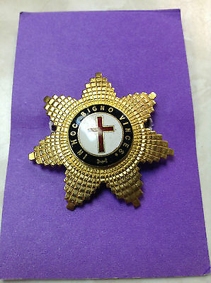 Vintage Masonic Knights Templar In Hoc Signo Vinces Star Pin Medal Enamel Badge