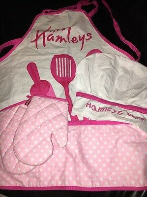 Girls Pink Hamleys Cook Chef Hat Oven Gloves Apron Baking Cupcakes Chefs