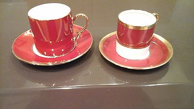 COFFEE CAN & SAUCER, E HUGHES & Co CHINA, STAFFS + 1 Free ORANGE & GOLD Unknown