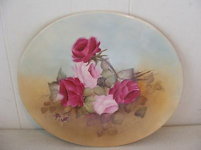 Antique Hand Painted Porcelain  Plaque, Victorian Pink and Red Roses - signed