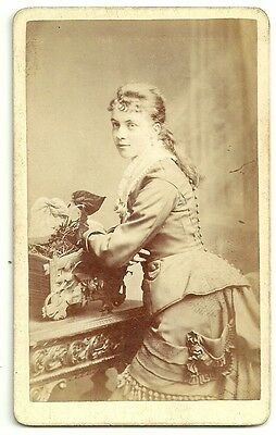 Victorian cdv  photo young woman dress with tassels  unstated  photographer