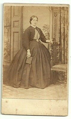 Victorian cdv  photo young woman long dress  unstated Photographer