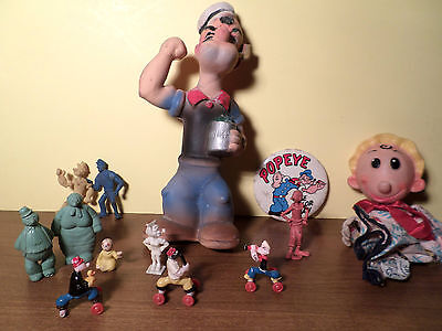 Popeye Collectibles: Vintage Squeeze Doll, Pez, Puppet, Badge, Figurines