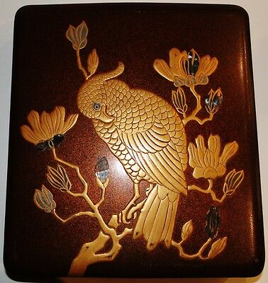 Fine Quality Japanese Lacquer Covered Suzuribako Writing Box Parrot Meiji 1880