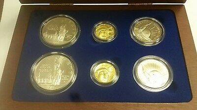 1986 6 Piece U.s. Liberty Gold, Silver & Clad Proof & Bu Coinage In Box