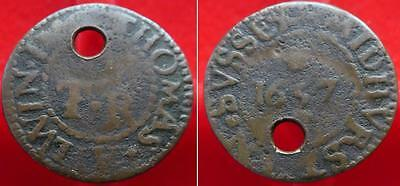 Very rare unrecorded mule Sussex Midhurst farthing Thomas Aylwin 1657 KR80a/80