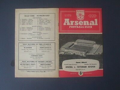 ARSENAL v TOTTENHAM  60-61  SPURS DOUBLE SEASON  FULLY SIGNED BY TOTTENHAM TEAM