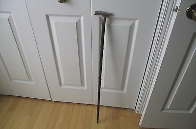 Vtg Art Nouveau  Walking Stick  Cane Sterling With 3 Stamped 34 Inch