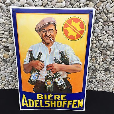 +++++ Ancienne Rare Plaque Emaillee Biere Adelshoffen +++++