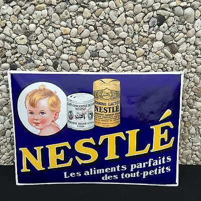 +++++ Ancienne Rare Plaque Emaillee Aliments Nestle Signee Arnold +++++