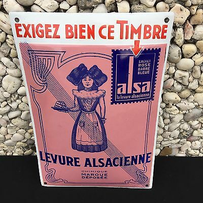 +++++ Ancienne Rare Plaque Emaillee Timbre Alsa Levure Alsacienne +++++