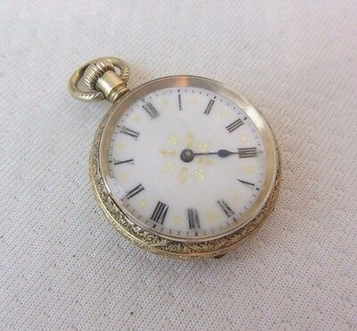 Antique Waltham Aww Co 14Ct Gold Plated Pocket Fob Watch C.1900 Running